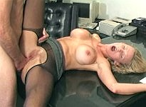 Lustful leggy whore in sexy nylons will get the cock even at work